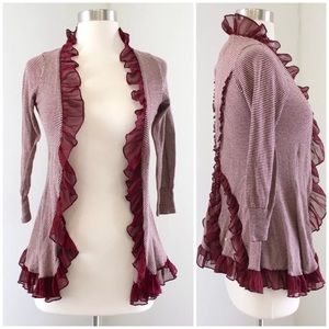 Guinevere Maroon Striped Ruffle Sweater